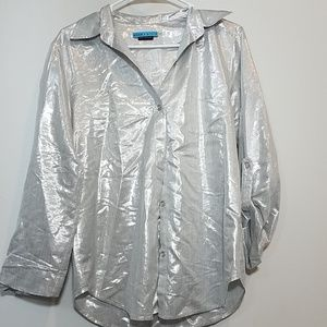 Alice & Olivia Metallic Silver Button down top